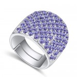 Shining Austrian Crystal Inlaid Wide Fashion Platinum Plated Ring - Violet