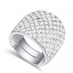 Shining Austrian Crystal Inlaid Wide Fashion Platinum Plated Ring - White