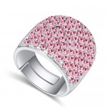 Shining Austrian Crystal Inlaid Wide Fashion Platinum Plated Ring - Pink