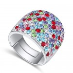 Shining Austrian Crystal Inlaid Wide Fashion Platinum Plated Ring - Multicolor