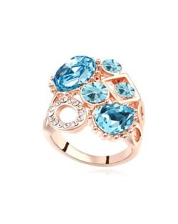 Assorted Shining Colorful Austrian Crystal Embellished Hollow Fashion Rod Gold Plated Rings - Aquamarine