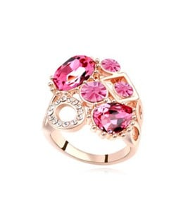 Assorted Shining Colorful Austrian Crystal Embellished Hollow Fashion Rod Gold Plated Rings - Rose