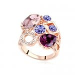 Assorted Shining Colorful Austrian Crystal Embellished Hollow Fashion Rod Gold Plated Rings - Purple