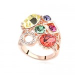 Assorted Shining Colorful Austrian Crystal Embellished Hollow Fashion Rod Gold Plated Rings - Multicolor
