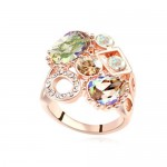 Assorted Shining Colorful Austrian Crystal Embellished Hollow Fashion Rod Gold Plated Rings - Luminous Green