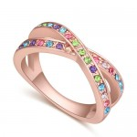 Austrian Crystal Inlaid Graceful Dual Rings Design Rose Gold Plated Ring - Multicolor