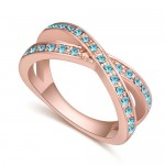Austrian Crystal Inlaid Graceful Dual Rings Design Rose Gold Plated Ring - Aquamarine