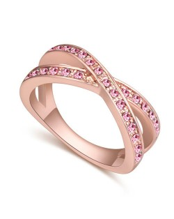 Austrian Crystal Inlaid Graceful Dual Rings Design Rose Gold Plated Ring - Ligh Rose