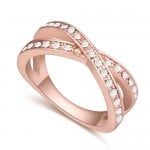 Austrian Crystal Inlaid Graceful Dual Rings Design Rose Gold Plated Ring - White