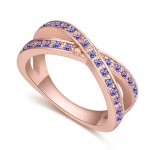 Austrian Crystal Inlaid Graceful Dual Rings Design Rose Gold Plated Ring - Violet