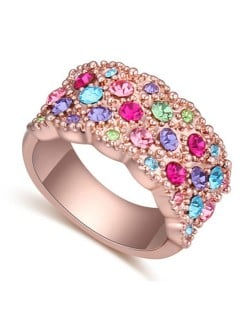 Austrian Crystal Embellished Flowers Cluster Design Rose Gold Plated Ring - Multicolor