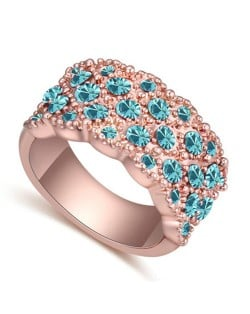 Austrian Crystal Embellished Flowers Cluster Design Rose Gold Plated Ring - Ocean Blue