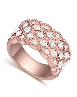 Austrian Crystal Embellished Flowers Cluster Design Rose Gold Plated Ring - White