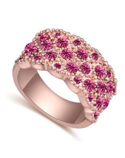 Austrian Crystal Embellished Flowers Cluster Design Rose Gold Plated Ring - Rose