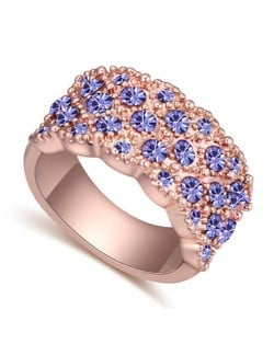 Austrian Crystal Embellished Flowers Cluster Design Rose Gold Plated Ring - Violet