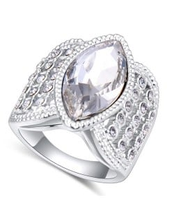 Austrian Crystal Inlaid Classical Design Platinum Plated Alloy Ring - White