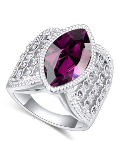 Austrian Crystal Inlaid Classical Design Platinum Plated Alloy Ring - Purple