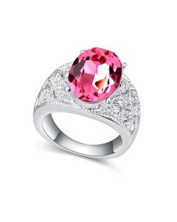 Austrian Crystal Inlaid Four Claws Shining Starry Design Platinum Plated Alloy Ring - Red