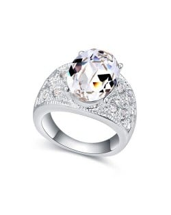 Austrian Crystal Inlaid Four Claws Shining Starry Design Platinum Plated Alloy Ring - White