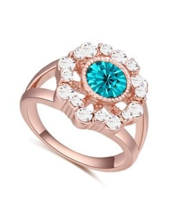 Austrian Crystal Hollow Sun Flower Design Rose Gold Plated Alloy Ring - Aquamarine
