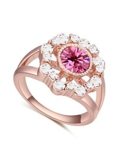 Austrian Crystal Hollow Sun Flower Design Rose Gold Plated Alloy Ring - Rose