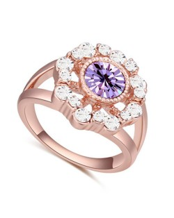 Austrian Crystal Hollow Sun Flower Design Rose Gold Plated Alloy Ring - Violet