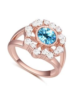 Austrian Crystal Hollow Sun Flower Design Rose Gold Plated Alloy Ring - Sky Blue