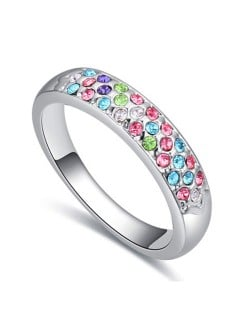 Austrian Crystal Embellished Classic Plain Fashion Platinum Plated Ring - Multicolor