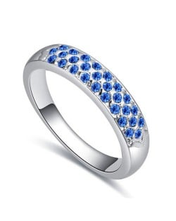 Austrian Crystal Embellished Classic Plain Fashion Platinum Plated Ring - Blue