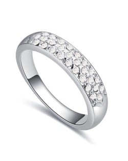 Austrian Crystal Embellished Classic Plain Fashion Platinum Plated Ring - White