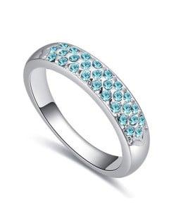 Austrian Crystal Embellished Classic Plain Fashion Platinum Plated Ring - Aquamarine