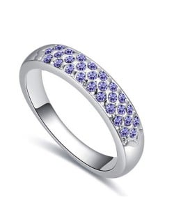 Austrian Crystal Embellished Classic Plain Fashion Platinum Plated Ring - Violet
