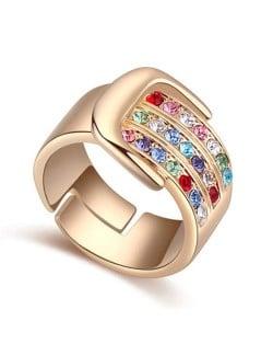 Austrian Crystal Embellished Belt Buckle Design Rose Gold Plated Alloy Ring - Multicolor