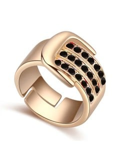 Austrian Crystal Embellished Belt Buckle Design Rose Gold Plated Alloy Ring - Black
