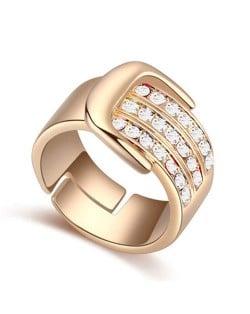 Austrian Crystal Embellished Belt Buckle Design Rose Gold Plated Alloy Ring - White