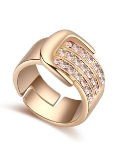 Austrian Crystal Embellished Belt Buckle Design Rose Gold Plated Alloy Ring - Light Pink