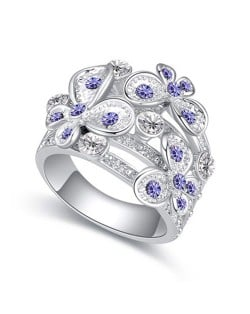 Austrian Crystal Inlaid Butterflies Flying Design Hollow Ring - Violet