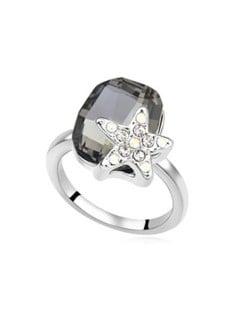 Star Attached Shining Austrian Crystal Ring - Black