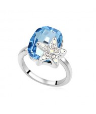 Star Attached Shining Austrian Crystal Ring - Ocean Blue