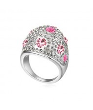 Austrian Crystal All-over Design Wide Style Platinum Plated Ring - Light Rose