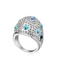 Austrian Crystal All-over Design Wide Style Platinum Plated Ring - Ocean Blue