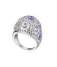 Austrian Crystal All-over Design Wide Style Platinum Plated Ring - Violet