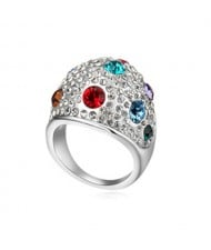Austrian Crystal All-over Design Wide Style Platinum Plated Ring - Multicolor