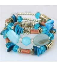 Bohemian Fashion Turquoise and Assorted Beads Design Triple-layer Bracelet - Blue