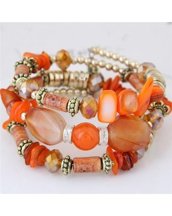 Bohemian Fashion Turquoise and Assorted Beads Design Triple-layer Bracelet - Orange