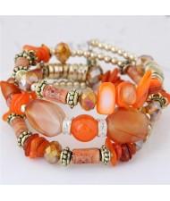 Bohemian Fashion Turquoise and Assorted Beads Design Triple-layer Bracelet - Orange