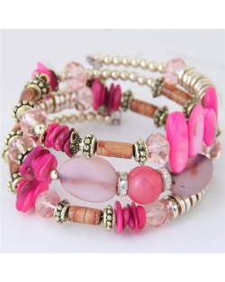 Bohemian Fashion Turquoise and Assorted Beads Design Triple-layer Bracelet - Pink