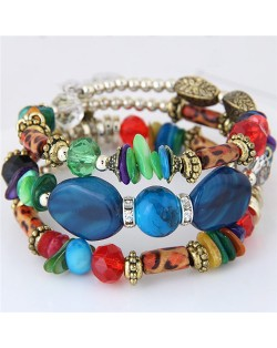 Bohemian Fashion Turquoise and Assorted Beads Design Triple-layer Bracelet - Royal Blue
