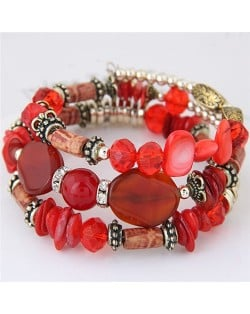 Bohemian Fashion Turquoise and Assorted Beads Design Triple-layer Bracelet - Red