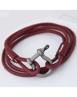 Coarse Fashion Multi-layer Leather Bracelet - Red